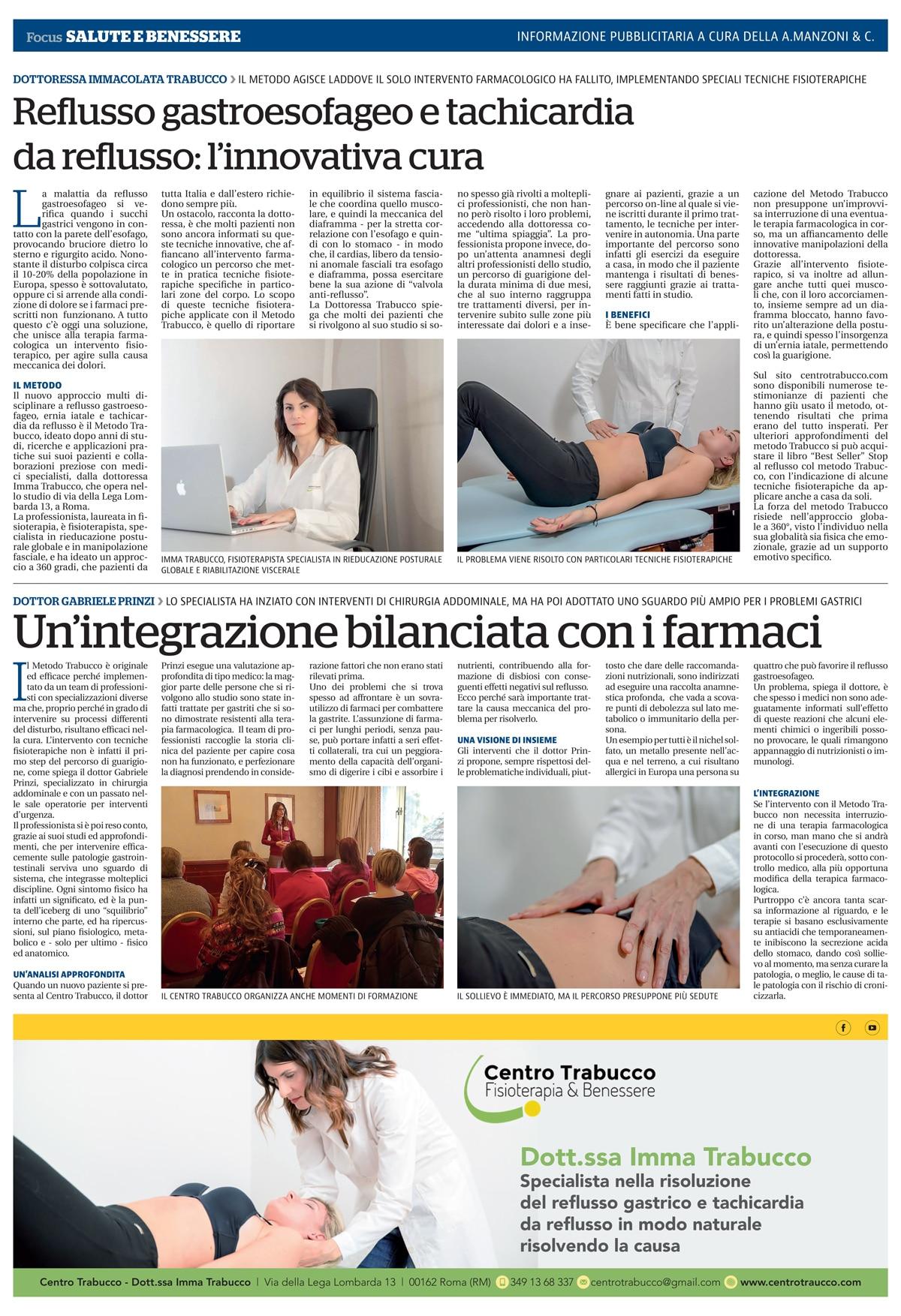 Articolo Metodo Trabucco Repubblica Edizione Roma